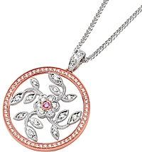 Simon G White and Rose Gold Floral Pendant with Diamonds