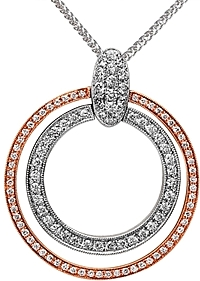Simon G White and Rose Gold Open Circle Pendant