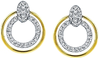 Simon G White and Yellow Gold Circle Earrings with Diamonds