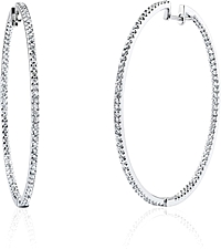 Simon G White Gold Diamond Hoop Earrings