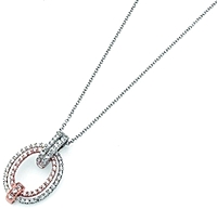 Simon G White Gold Diamond Pendant with Rose Gold Detail
