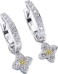 Simon G White Gold Earrings with Four Leaf Flower