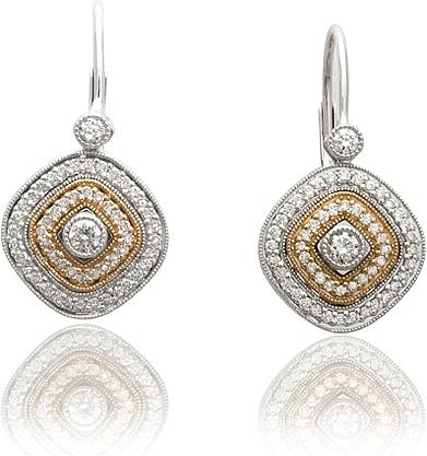Simon G White Gold Earrings with Rose Gold Milgrain Edge SG PE103