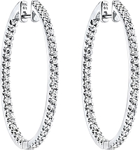 Simon G White Gold Hoop Earrings with Diamonds