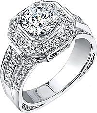 Simon G Wide Pave Diamond Halo Engagement Ring