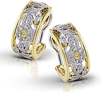 Simon G Yellow and White Gold Earrings with Floral Detail