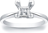 Solitaire Basket Engagement Ring for a Princess Cut Center