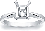 This image shows the setting with a basket made to hold a 1.25ct emerald cut center diamond. The setting can be ordered to accommodate any shape/size diamond listed in the setting details section below.