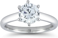 Solitaire Six Prong  Diamond Engagement Ring