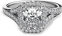 Split Shank Diamond Cushion Halo Engagement Ring