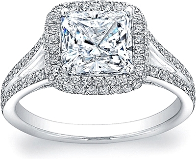 This image shows the setting with a 1.50ct cushion cut center diamond. The setting can be ordered to accomodate any shape/size diamond listed in the setting details section below.