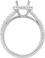 This image shows the setting with a basket made for 1.00ct round brilliant cut diamond. The setting can be ordered to accommodate any size/shape diamond listed on the setting details section below.