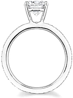 This image shows the setting with a basket made for a 1.50ct round brilliant cut diamond. The setting can be ordered to accomodate any shape/size diamond listed in the setting details section below.