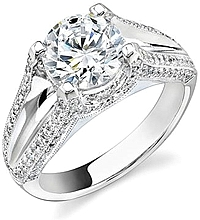 Stardust .70ct Micro Pave Split Shank Engagement Ring with a Micro Pave  Undercarriage