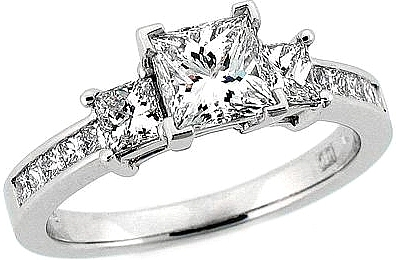This image shows the setting with a basket made for a 1.25ct princess cut diamond. The setting can be ordered to accomodate any shape/size diamond listed in the setting details section below.