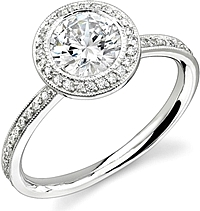 Stardust Bezel Set Diamond Engagement Ring w/ Round Halo .40cttw
