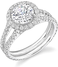 Stardust Pave Split Shank Engagement Ring 1.20ct tw