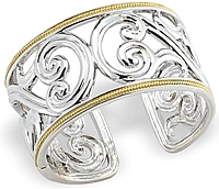Sterling Silver & 18k Yellow Gold Wide Cuff
