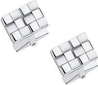 Sterling Silver Basket Weave Cuff Links