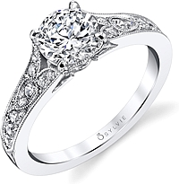 Sylvie Antique Style Diamond Engagement Ring