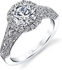 Sylvie Antique Style Halo Diamond Engagement Ring