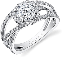 Sylvie Criss-Cross Diamond Engagement Ring