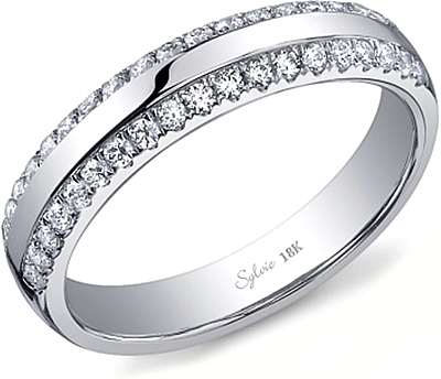 sylvie double row diamond wedding band sy736b - Double Band Wedding Ring