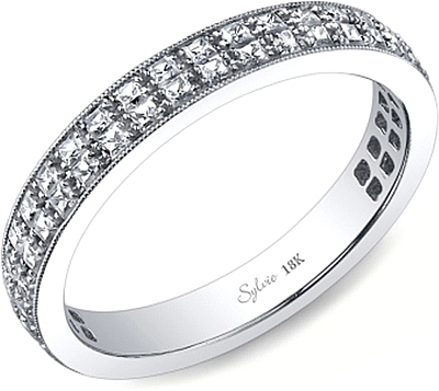 Sylvie Double Row Princess Cut Diamond Wedding Band SY155B