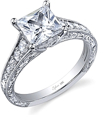 Sylvie Engraved Pave Diamond Engagement Ring