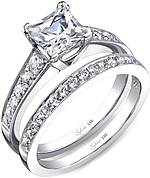 This image shows the setting with a 1.00ct princess cut center diamond. The setting can be ordered to accommodate any shape/size diamond listed in the setting details section below. Shown with the matching wedding band; Sold separately.