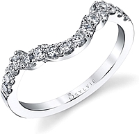 Sylvie Pave Contoured Diamond Wedding Band