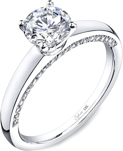 Engagement ring diamond  Sylvie Pave Diamond Engagement Ring SY700
