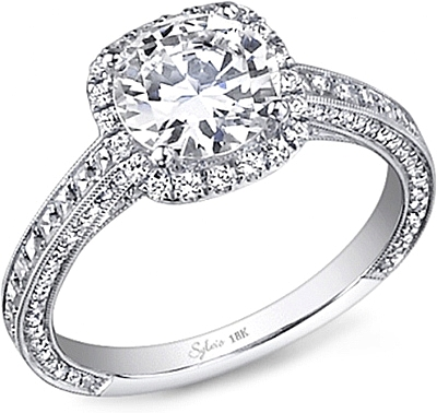 this image shows the setting with a 100ct round brilliant cut center diamond the - Wedding Ring Diamond