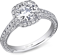Sylvie Pave Halo Diamond Engagement Ring
