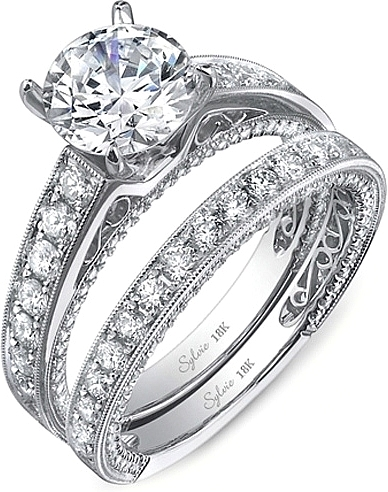 wedding milgrain cooper band ring triple gross jeff row l h engagement c bands diamond