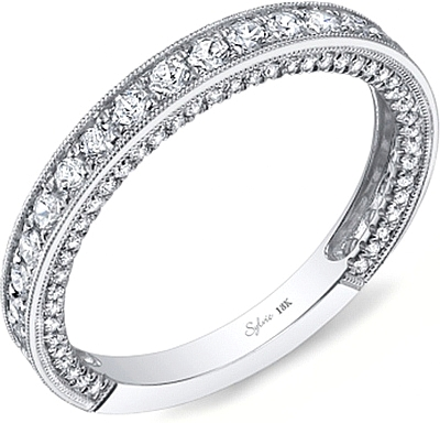 bands earth pav top wedding milgrain white ring pave diamond band gold ct tw brilliant