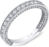 Sylvie Pave Milgrain Diamond Wedding Band