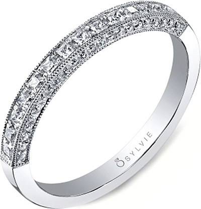 Sylvie Princess Cut Diamond Wedding Band SY652B
