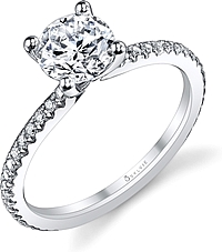 Sylvie Thin Pave Diamond Engagement Ring