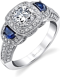 Sylvie Three-Stone Diamond & Sapphire Engagement Ring