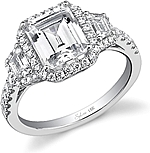 This image shows the setting with a 2.25ct emerald cut center diamond. The setting can be ordered to accommodate any shape/size diamond listed in the setting details section below.