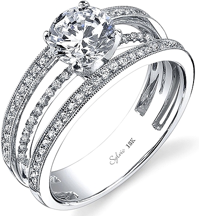 Sylvie Triple Band Diamond Engagement Ring SY689