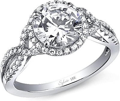 this image shows the setting with a 200ct round brilliant cut center diamond the - Halo Wedding Rings
