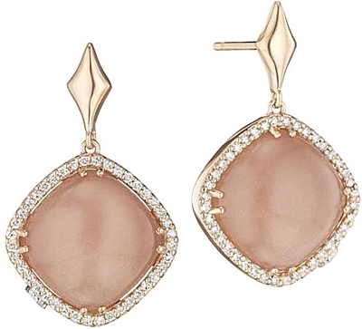 diamond earrings and gold c rose peach moonstone tacori