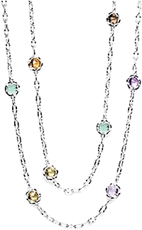 "Tacori 18k925 36"" Colored Gemstone Necklace"
