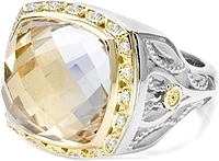 Tacori 18K925 Clear Quartz & Diamond Ring
