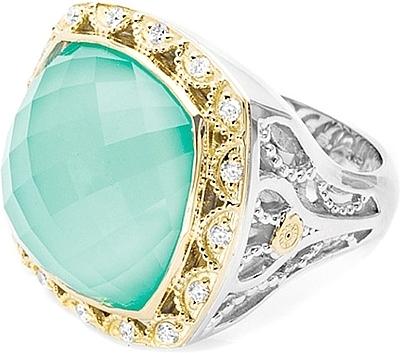 Tacori 18k925 Neolite Turquoise Diamond Ring SR101Y08