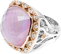 Tacori 18K925 Rose Amethyst & Mother of Pearl Diamond Ring