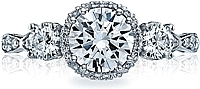Tacori 3 Stone Halo Diamond Engagement Ring
