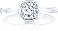 Tacori Bezel Set Cushion Cut Diamond Engagement Ring